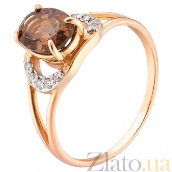 Кольцо из красного золота с раух топазом и бриллиантами  TRF--1121530н