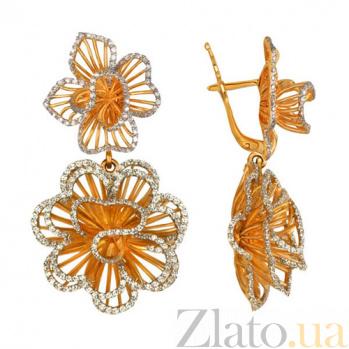 Серьги из красного золота с цирконием Зимние розы VLT--ТТ2218-2