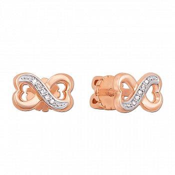 Золотые серьги-пуссеты в комбинированном цвете с бриллиантами 000106486