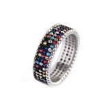 Серебряное кольцо Драгоценная река с разноцветными фианитами