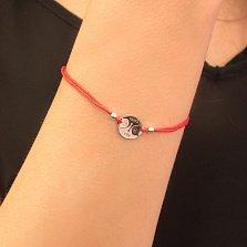 Шелковый браслет Котики Инь Ян с круглой серебряной вставкой и надписью Yin Yang