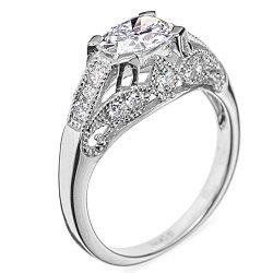 Кольцо из белого золота Замок волшебства с бриллиантами