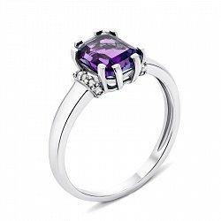 Серебряное кольцо с аметистом и фианитами 000133082