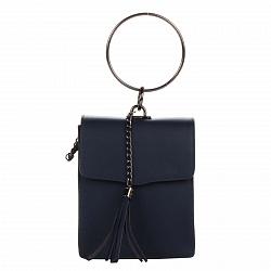 Кожаный клатч Genuine Leather 1624 темно-синего цвета с круглой металлической ручкой