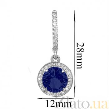 Серебряные серьги Атлантида с синим альпинитом и фианитами 000020239