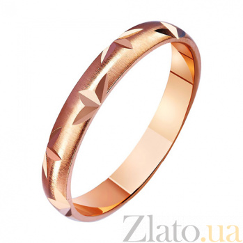 Золотое обручальное кольцо Взаимная страсть с насечкой TRF--411156