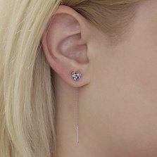 Серебряные серьги-протяжки Сердце с фиолетовой эмалью и фианитами