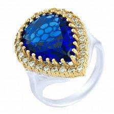 Кольцо из серебра и бронзы Тельма с сапфиром и фианитами