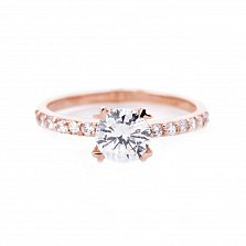Золотое кольцо Саманта с фианитами