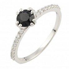 Серебряное кольцо Жаннета с сапфиром и фианитами