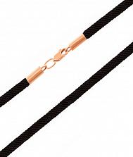 Ювелирный шнурок с золотым замочком Дели с черным текстилем