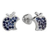 Серебряные серьги-пуссеты  Эпл с синим цирконием