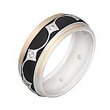 Серебряное кольцо с золотой вставкой и фианитами Модерн
