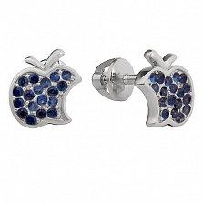 Серебряные серьги-пуссеты Эппл с синим цирконием