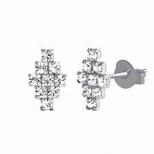 Серебряные серьги-пуссеты Дорси с ювелирным стеклом и родием