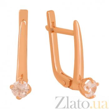 Золотые сережки с фианитами Лолита VLN--213-1778