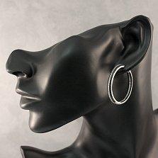 Серебряные серьги-кольца Вивьен с черными и белыми фианитами