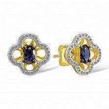 Серьги из золота с сапфирами и бриллиантами Милена