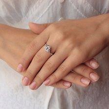 Серебряное кольцо Сияющий завиток с тремя фианитами