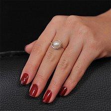 Золотое кольцо с жемчугом и фианитами Габриэлла