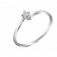 Кольцо из белого золота Нежность с бриллиантом