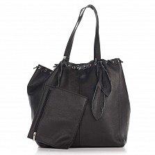 Кожаная сумка на каждый день Genuine Leather 8250 черного цвета на кулиске со съемным кошельком