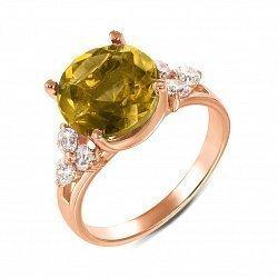 Кольцо из красного золота с цитрином и фианитами 000134264
