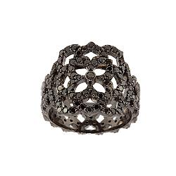 Золотое кольцо с чёрными с бриллиантами Aurora 000019633