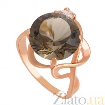 Золотое кольцо с раухтопазом и фианитом Джунгли VLN--112-576-2