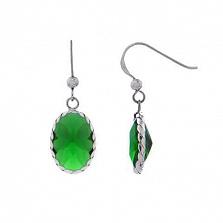 Серьги-подвески из серебра с зеленым цирконом