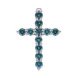 Крестик из белого золота с голубыми бриллиантами 0.60ct 000145347