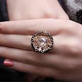 Золотое кольцо Дуализм с агатом и фианитом