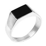 Серебряное кольцо с ониксом Мачо