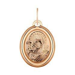 Ладанка из красного золота Владимирская Божия Матерь 000123834