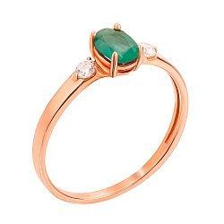 Кольцо из красного золота с изумрудом и фианитами 000131330