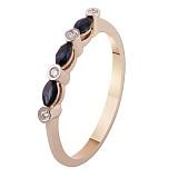 Золотое кольцо с бриллиантами и сапфирами Элегия