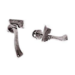 Cеребряные серьги-пуссеты Ax с чернением 000091386
