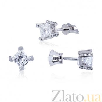 Золотые серьги с бриллиантами Алекто EDM--С7494/1G