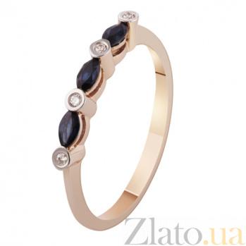 Золотое кольцо с бриллиантами и сапфирами Элегия KBL--К1901/крас/сапф