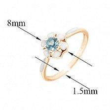 Золотое кольцо Нежная ромашка с лондон топазом и белой эмалью