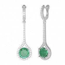 Серебряные серьги Фиона с зеленым кварцем и фианитами