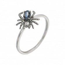 Кольцо из белого золота Паучок с сапфиром и бриллиантами