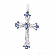 Крестик из белого золота Летиция с сапфирами и бриллиантами