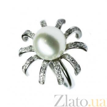 Золотое кольцо с жемчугом и бриллиантами Мириам 1К041-0053
