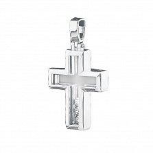 Крестик из белого золота Тринити с фианитами