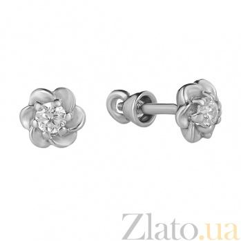 Серебряные пуссеты Роза TNG--520249С