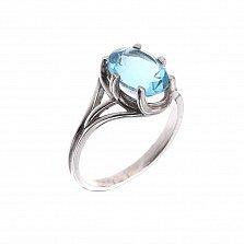 Серебряное кольцо Мальвина с голубым топазом