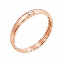 Кольцо из красного золота Путеводная звезда с бриллиантом