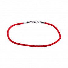 Плетеный шелковый браслет Матиас с родированной серебряной застежкой, 2мм