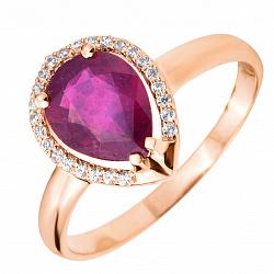 Кольцо из красного золота с рубином и цирконием 000103426
